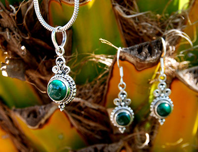 Malachite Pendant/Earring Set